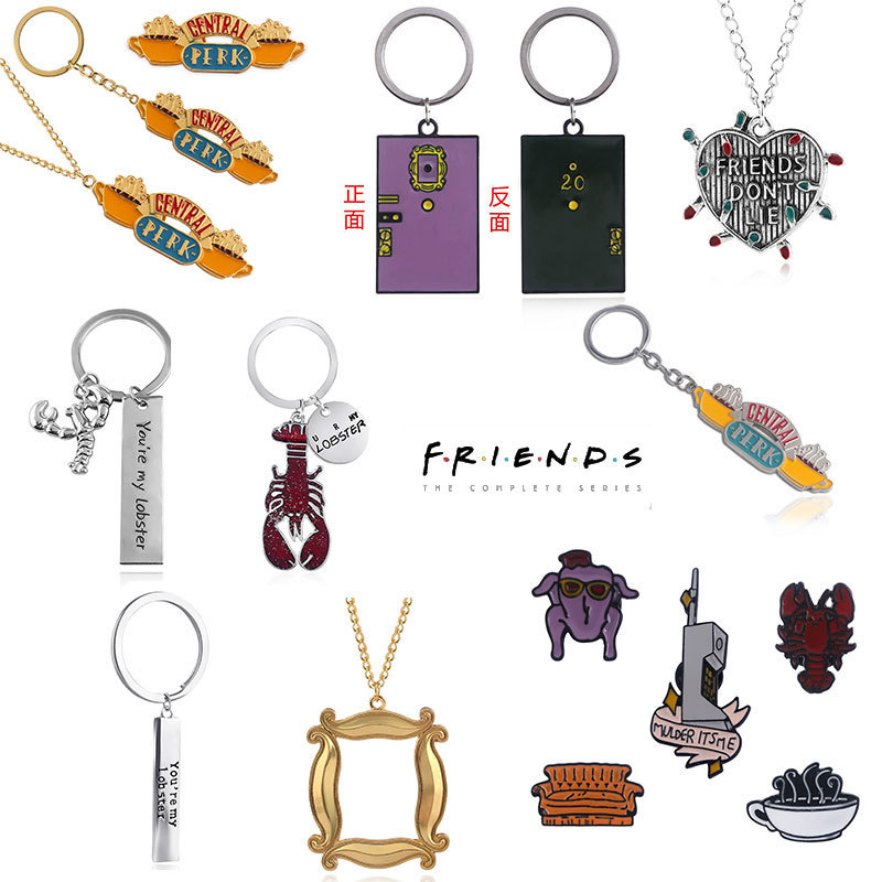 Classic TV show FRIENDS same style keychain crawfish Central Perk Coffee Time For Best friend Car Keyring llavero Jewelry Gift image