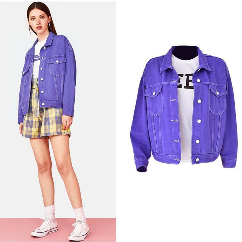 Loose Womens Couple Jacket Denim Female Coat High Street Purple Simple Autumn Clothes For Women