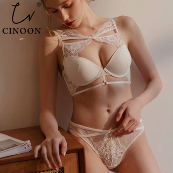CINOON Top Sexy Bandage Underwear Set Push-up Bra And Panty Sets Hollow Out Brassiere Gather Bra Embroidery Lace Lingerie Set cinoon new women s underwear set push up bra and panty sets comfortable brassiere gather sexy bra embroidery lace lingerie set