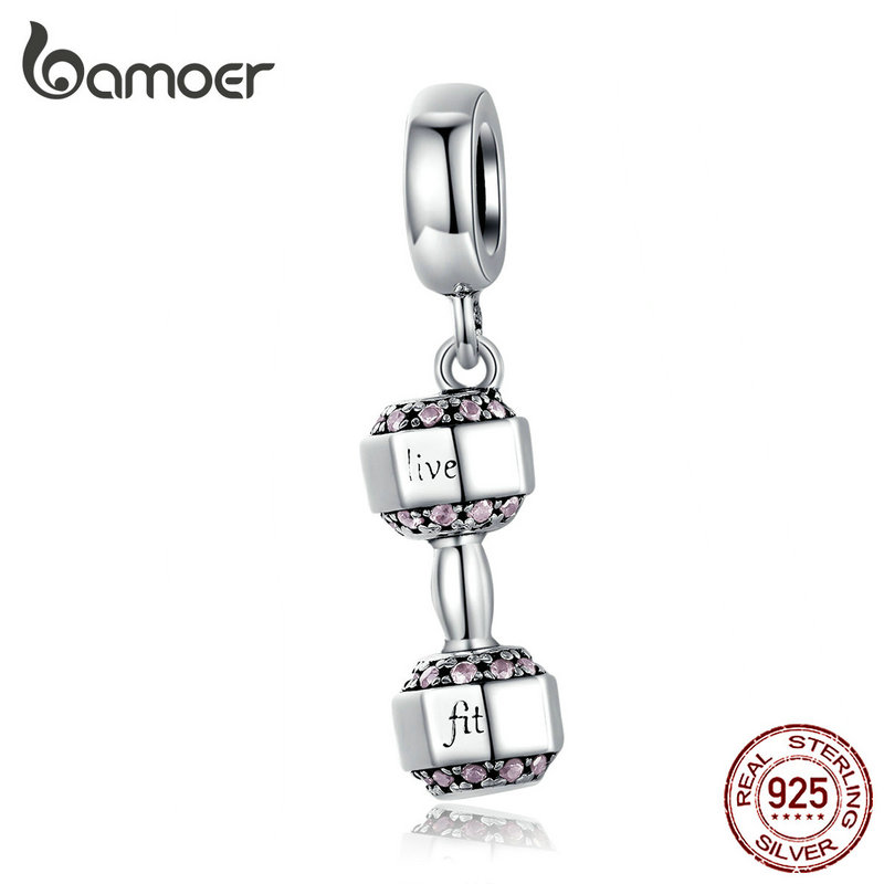 Bamoer Genuine 925 Sterling Silver Pendant Charm For Women Original 925 Snake Bracelet Necklace Bumbell Sport Design SCC1340