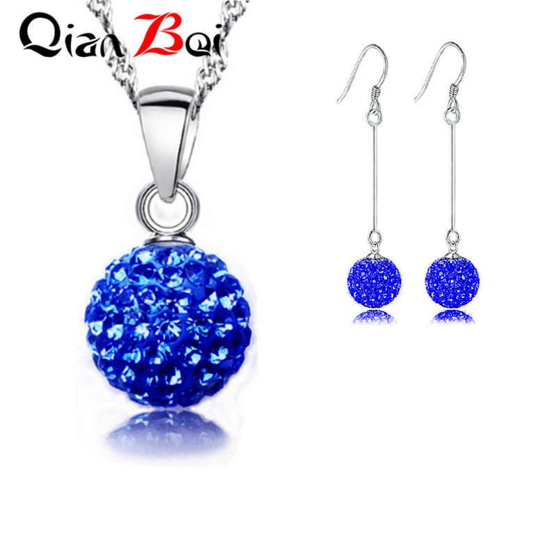 QianBei חדש הגעה כדור קריסטל עגיל תליון שרשרת עבור אישה
