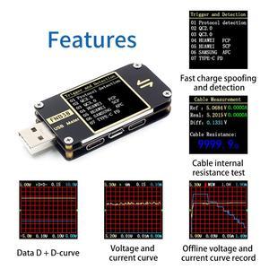 Image 2 - Fnb38 medidor de corrente e tensão tester usb qc4 + pd3.0 2.0 pps rápido protocolo de carregamento capacidade teste usb tester