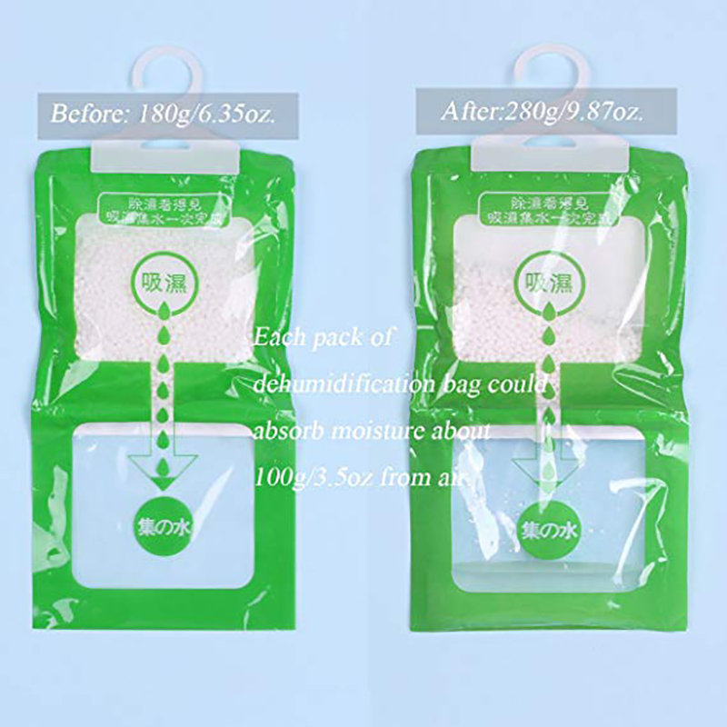 Kitchen Bathroom Wardrobe Hanging Hygroscopic Anti-Mold Deodorizing Moistureproof Desiccant Bag, Dehumidification Process