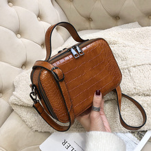 Korean version of the small bag ladies new foreign trade crocodile pattern shoulder small square bag wild retro messenger bag foreign bag female 2020 new korean version of the fashion texture crocodile pattern wild shoulder messenger chest bag