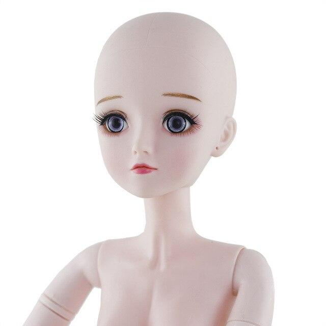 חדש 60cm Bjd בובת צעצועי 3D עיני DIY קירח ראש עירום עירום 21 מפרקים גוף נשי בובת גלוי ראש בובות צעצוע עבור בנות