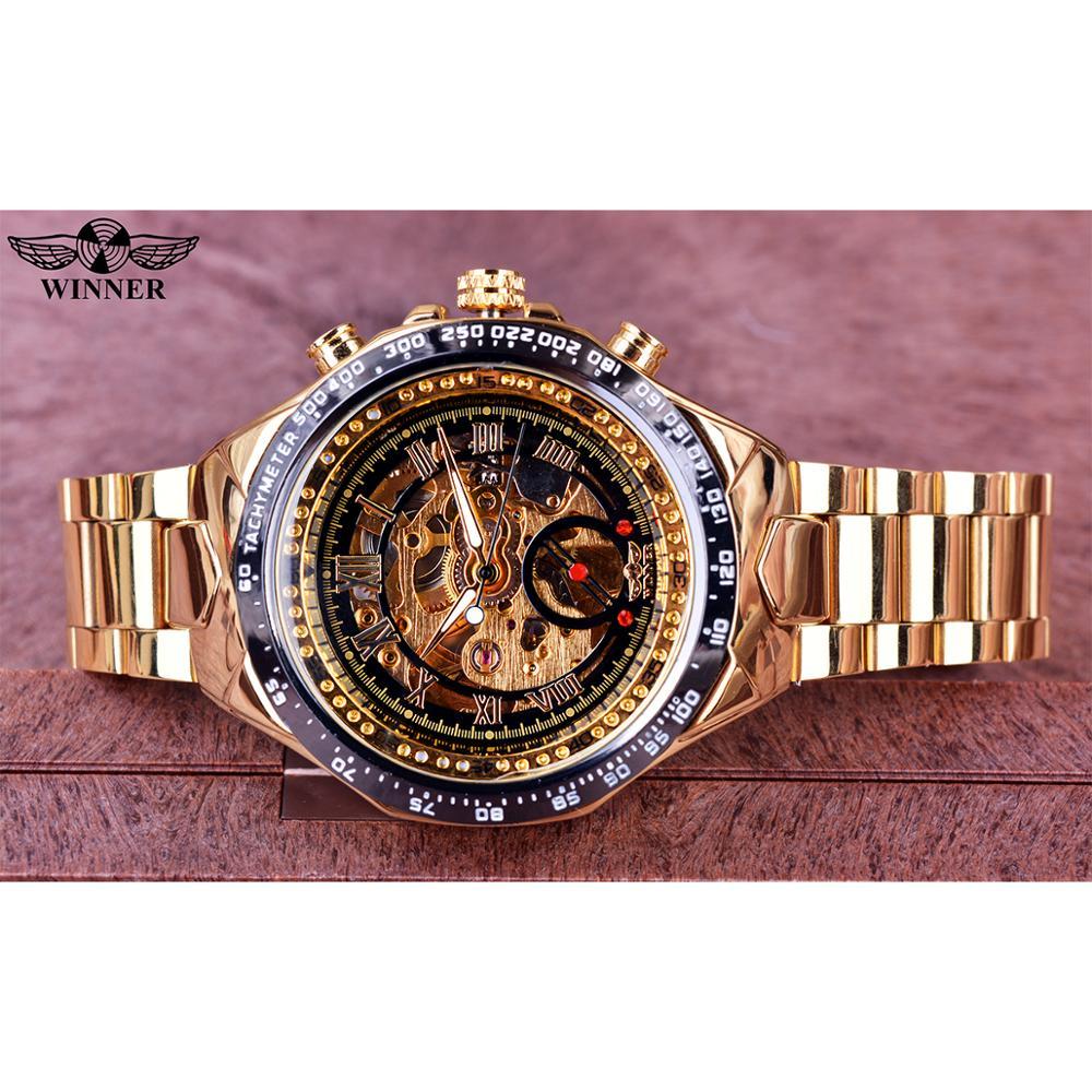 Winner Mechanical Sport Design Bezel Golden Watch Mens Watches Top Brand Luxury Montre Homme Clock Men Automatic Skeleton Watch 2