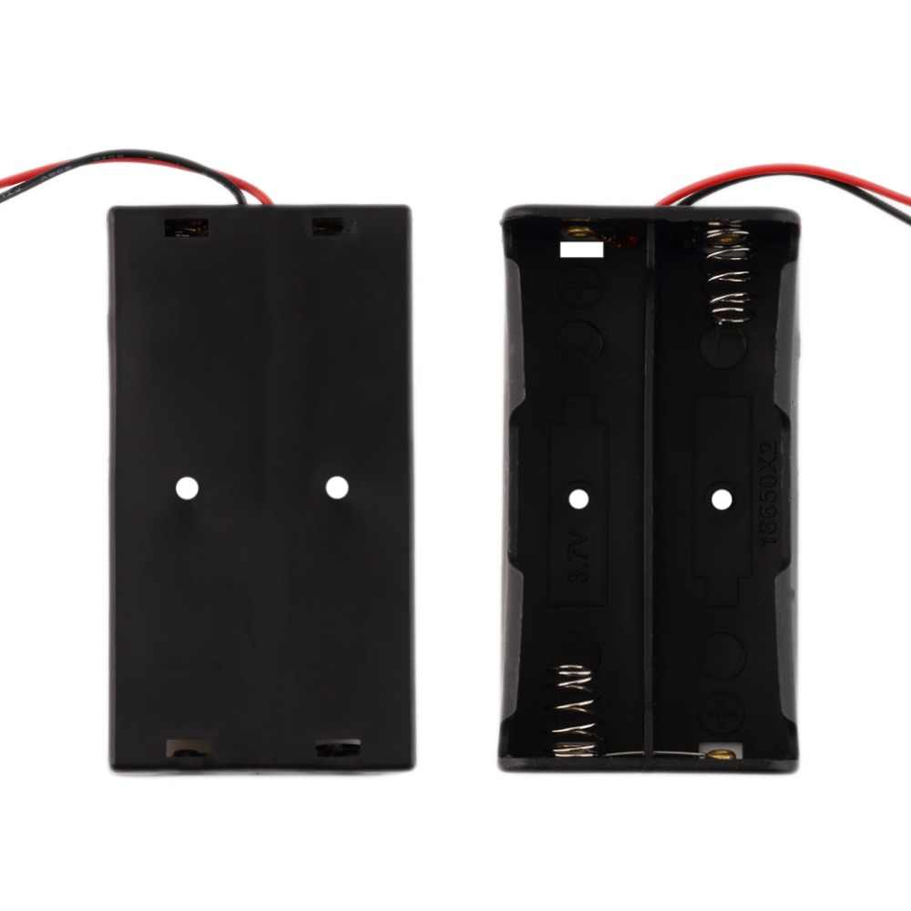 Caso Caixa de Armazenamento Da Bateria De Plástico para 2 Universal x 18650 Box Titular Preto Com Fios Condutores