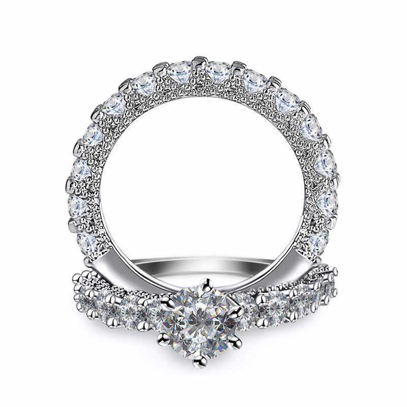 Cristal feminino zircon anel de casamento conjunto moda 925 prata conjuntos de noiva jóias promessa amor anéis de noivado para mulher