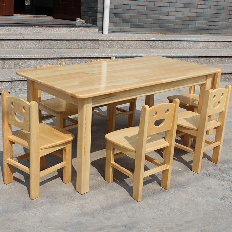 Kindergarten Oak Tables And Chairs Wholesale Children's School Desks And Chairs Set Combination Baby Solid Wood Table Pinus Sylv