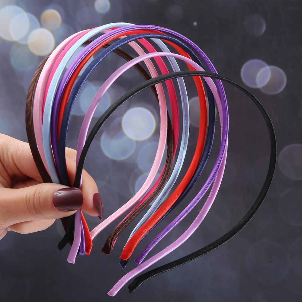 2020 temperamento cetim coberto preto acessórios de cabelo feminino hairband diy hairbands de metal hairband bandana para crianças