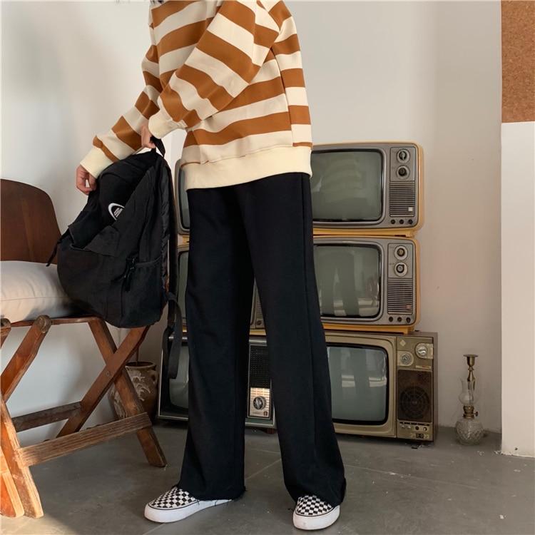 H34e8d205bbce4f388121d89b15ab55fa1 - Autumn / Winter High Waist Elastic Broadcloth Straight Solid Pants