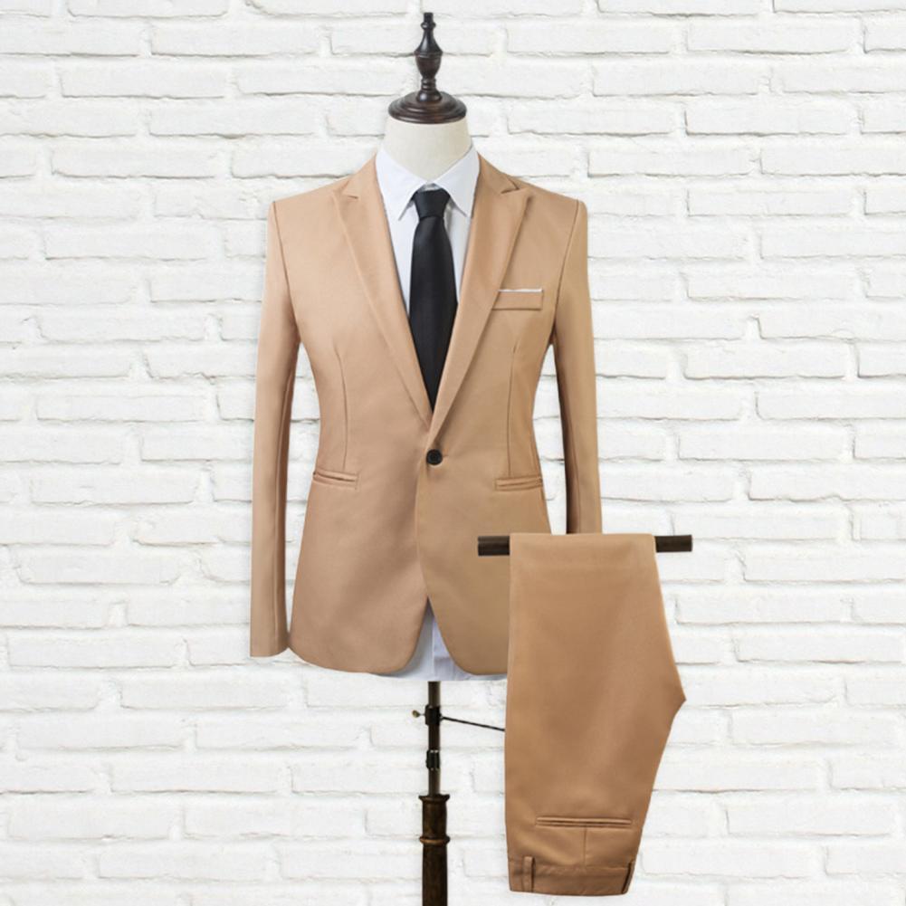 Men turndown collar suit set Men Suit Set Lapel Formal Stylish One Button Pockets Blazer for Wedding  business occasions 2021