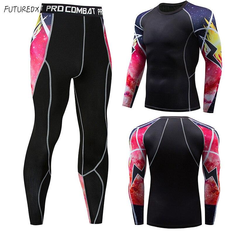 Lightning Strikes New Men's Suit 2 Sets Of Sportswear Men's Long-sleeved Fitness T-shirt + Men's Tights Base Compression Set