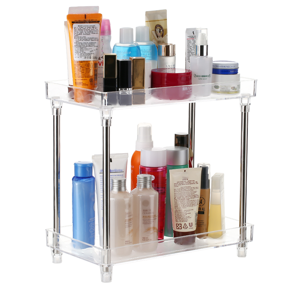 2-Tier Storage Makeup organizer Cosmetic Organizer Storage Shelf Make Up Tray Shelf Caddy Stand for Bathroom Vanity Countertop