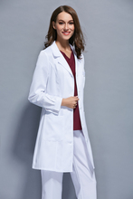 Korean version of women's long sleeved white lab coat in autumn and winter wearing dental laboratory overalls
