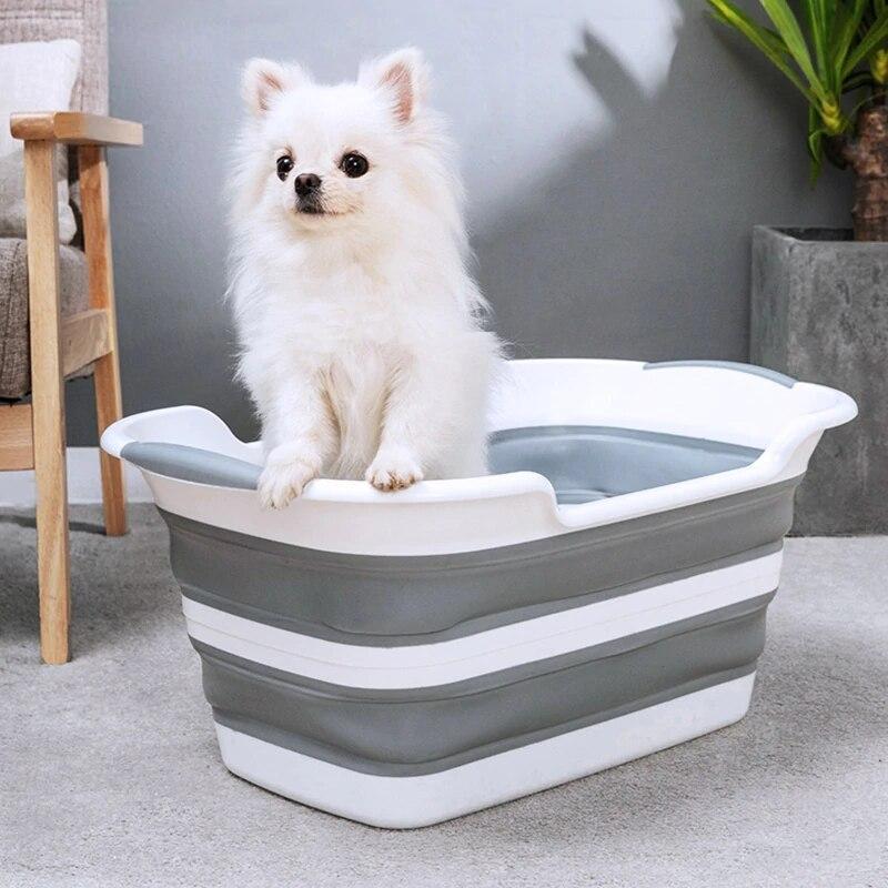 Pliable bébé bain Portable Silicone Pet chat chien baignoires vêtements de rangement bébé pliant antidérapant baignoire sécurité