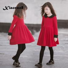 Winter girls princess dress children's long sleeve dresses big girls clothing Autumn 4~15 Year girl cute red velvet party dress nicbuy girl s autumn winter dress 2017 new children add velvet and lace princess fashion dress red blue