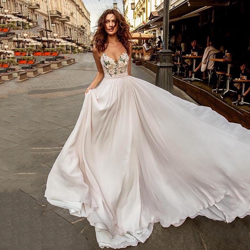 Eightree Spaghetti Straps Wedding Dress Sleeveless Floral Appliques Bride Dresses A-line Chiffon Wedding Gowns Vestidos De Novia