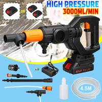 Rechargeable High Pressure Water Guns Car Washer Garden Sprayer Sprinkler Cleaning Tool with Hose Wand Nozzle 2pcs Battery