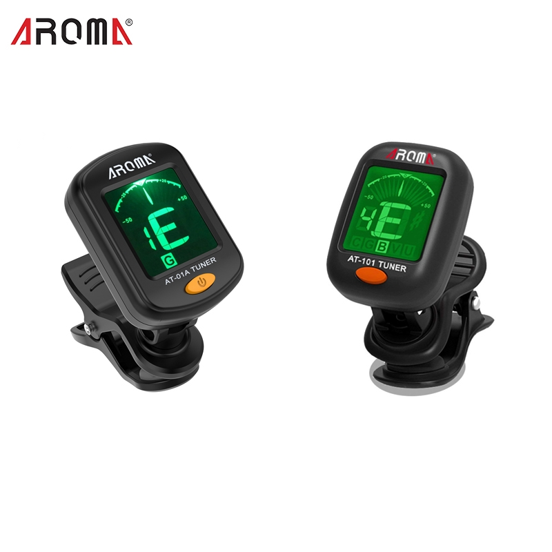 AROMA AT-101/01A Foldable Clip-on Electric Guitar Tuner Digital Rotatable Tuner High Sensitivity Ukulele Guitar Accessories title=