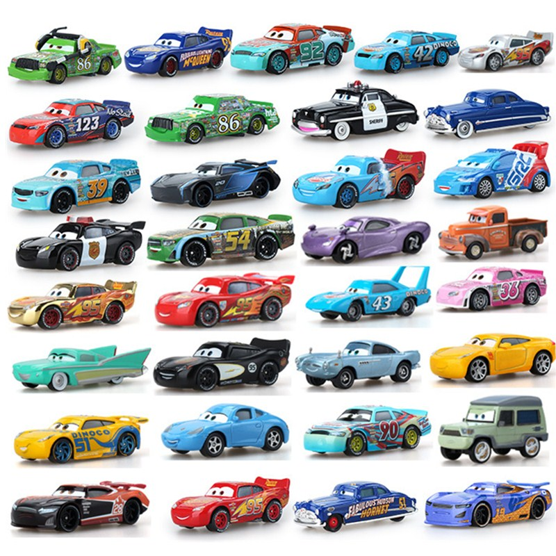 Cars Disney Pixar Car 2 3 Lightning McQueen Jackson Storm Sally Guido Mater 1:55 Diecast Metal Alloy Model Cars Kid Gift