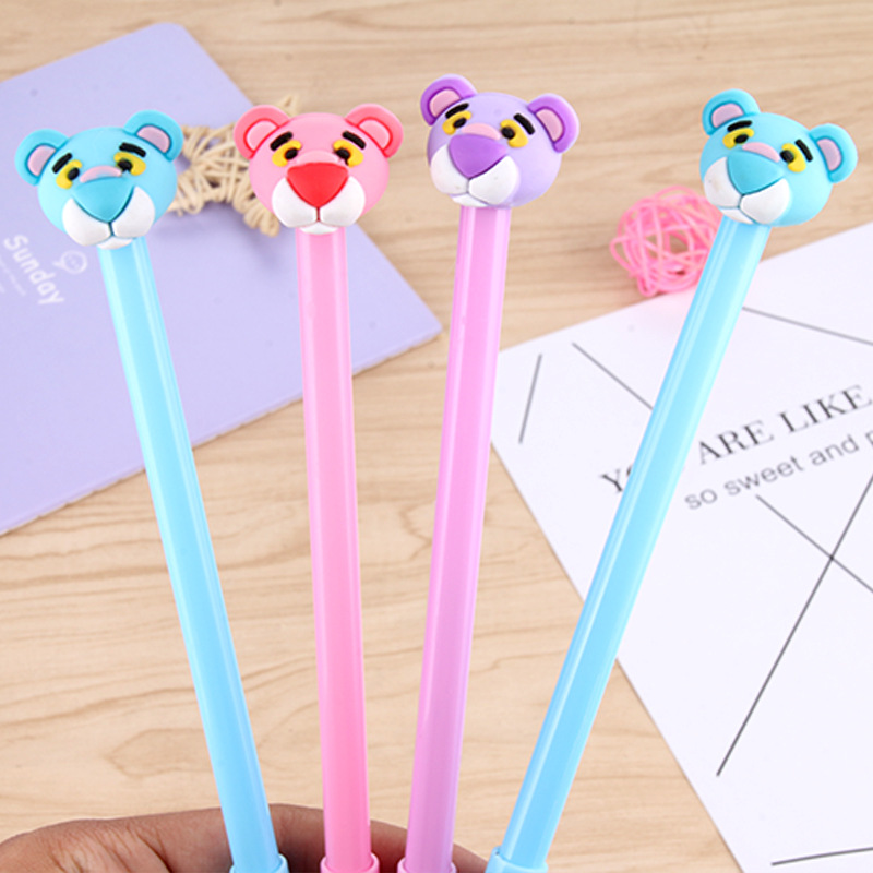 60pcs/set Black Ink Creative Cute Neutral Pen Cartoon Animal Tiger Head Black Water Pen Student Office Stationery