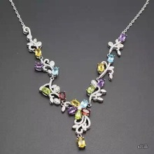 A variety of coloured gemstone necklaces, wholesale price, 925 Sterling silver, counter quality, novel style.