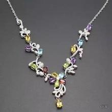 EINE vielzahl von farbigen edelstein halsketten, großhandel preis, 925 Sterling silber, zähler qualität, neuartigen stil.
