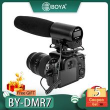 BOYA BY-DMR7 Condenser Microphone MIC ON Camera 3.5mm LCD Audio Cable Recording Studio Voice Professional Studio Microphone MIC metal 55sh microphone rose gold color vocal dynamic retro vintage mic 55 sh for mixer audio studio video singing recording