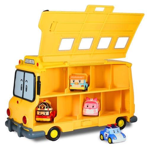 Silverlit Poli School Bus With Storage Compartment 83148 Transformation Police Perley-Storage Metal Car