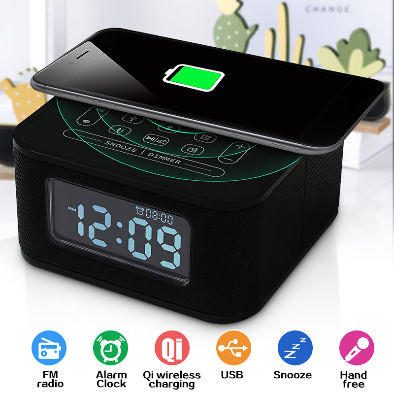 Digital NFC bluetooth Speaker Qi Wireless Charger Snooze Alarm Clock Thermometer Touch Control For ios Android Hands-Free EU image
