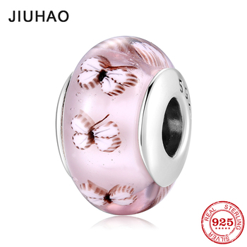 Sparkling Murano glass beads Pink butterfly 925 silver charms fit original pandora bracelet Fine jewelry making women gifts