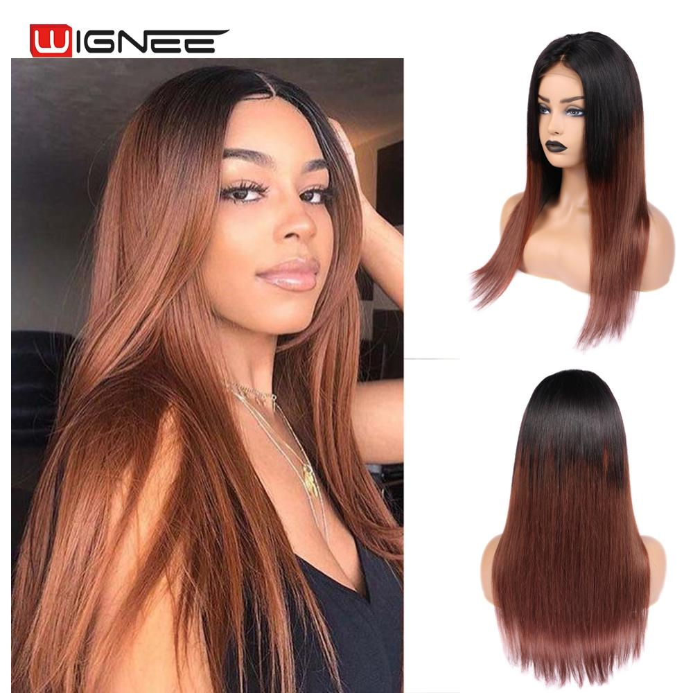 Wignee  4x4 Lace Closure Human Hair Wigs For Black Women Remy Brazilian Straight Hair Lace Part Human Wig Ombre Brown 1B 33# Wig