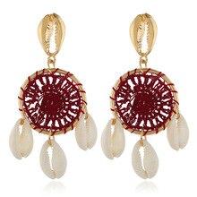 Handmade Straw Weave Color Dreamcatcher Sea Shell Drop Earrings for Women Rattan Bohemian Big Long Statement Jewelry
