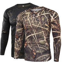 Mens Breathable Hunting Camping Shirts Army Camouflage T-shirt Outdoor Quick Drying Hiking Military Tactical T-Shirts