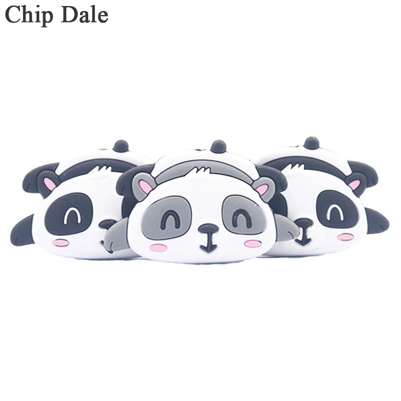 Chip Dale 5PCS Panda Silicone Beads Cute Animal Teether Bead BPA Free DIY Baby Necklace Pacifier Chain Mordedor Chew Beads