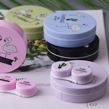Colored Contact Lenses Case Cute Eyes Contact Lens Travel Storage Box Container Kawaii Anime Luxury Set Female Kit Round Mirror
