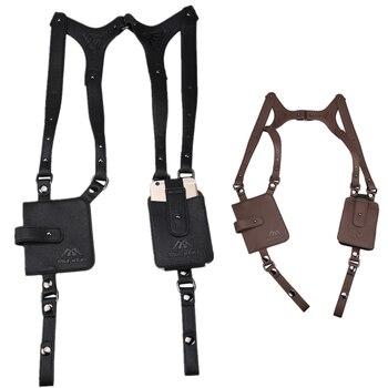 Yeahmart Hot Sale Man Leather Anti Theft Safety Hidden Holster Underarm Pouch Secret Agent Double Shoulder Phone Case Wallet Bag недорого