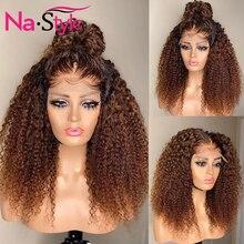 흑인 여성을위한 변태 곱슬 가발 허니 금발 레이스 프론트 인간의 머리 가발 미리 뽑아 전체 레이스 360 레이스 정면 가발 150 레미