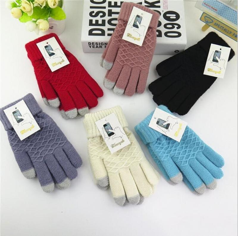 1 Pair Winter Touch Screen Gloves Women Men Warm Stretch Knit Mittens  Thicken Velet Full Finger Crochet Gloves Women Winter