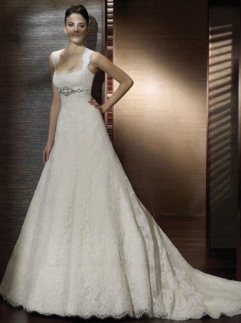 Elegant A-line Lace Wedding Dresses 2015 WithCap -sleeve Fashionable Vestido De Noiva Bridal Gown R88
