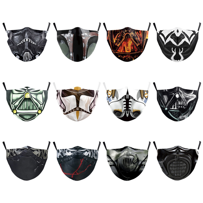 Movies Star Wars Mandalorian Digital Printing Dust-proof Anti Smog 2piece Filter Ice Silk Protective Mask Gift