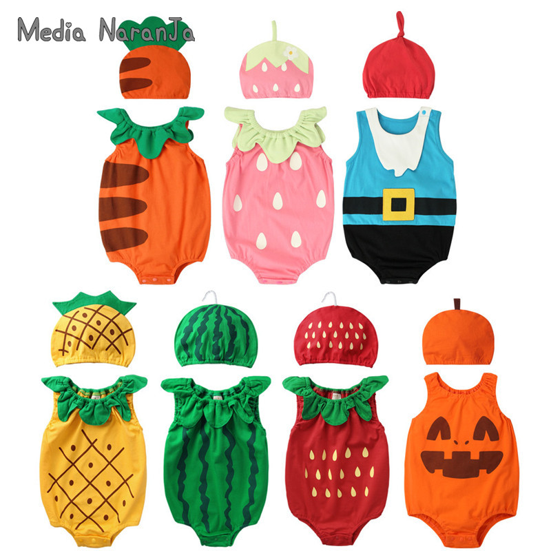 2020 summer baby boys girls unisex fruit type hat with bodysuit infant toddler cotton cute jumpsuit photography outfits