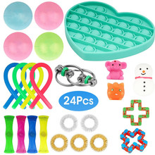 Sensory Toy Set Stress Relief Toy Autism Anxiety Relief Stress squeeze Bubble Antistress Toys Fidget Sensory Toy For Kids Adults