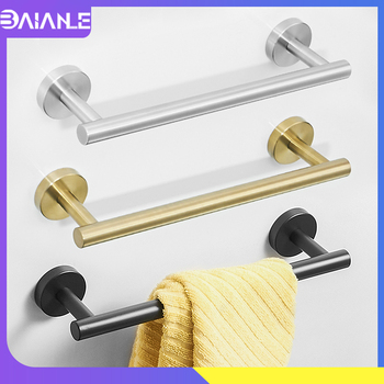 Towel Bar Black Stainless Steel Single Towel Rack Hanging Holder Wall Mounted Kitchen Towel Holder Gold Bathroom Accessories towel holder stainless steel doubel towel bar holder bathroom towel rack hanging holder wall mounted toilet clothes hanger shelf
