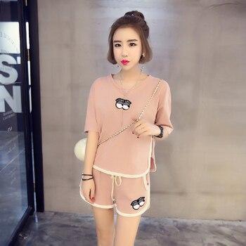 Hot sale Summer Shorts Pajama Sets for Women Short Sleeve Sleepwear Cute Girls Cartoon Pyjama Homewear Pijama Mujer Home Clothes 24