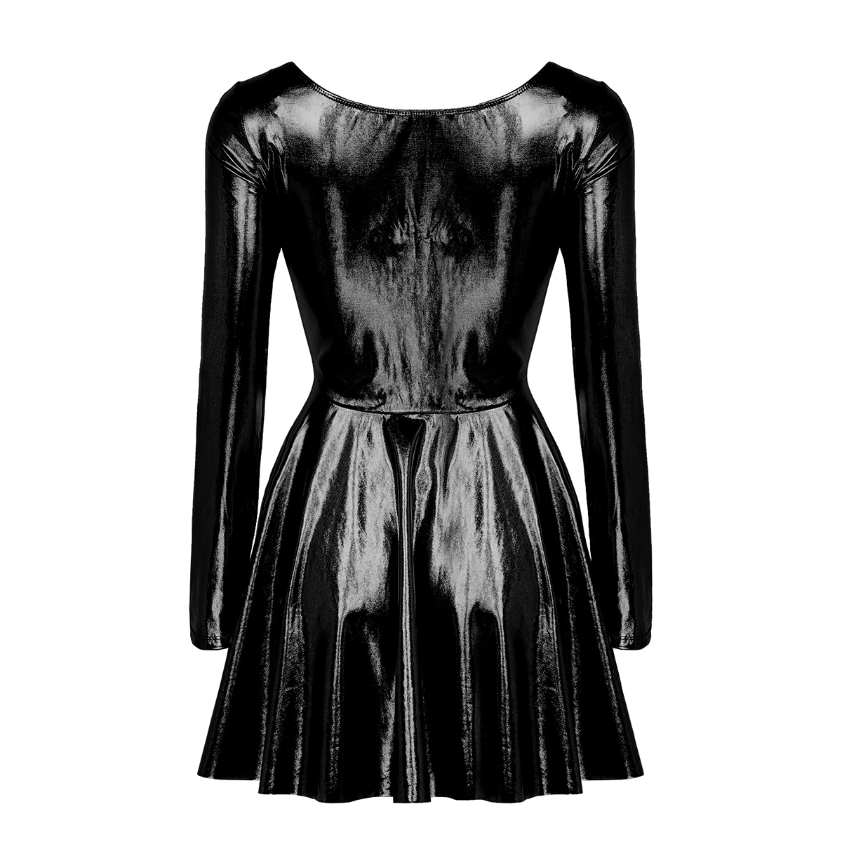Image 3 - Womens Ladies Dance Evening Paties Stage Costumes Dress Holographic Metallic Long Sleeves A line Mini Dress Femme Sexy ClubwearDresses   -