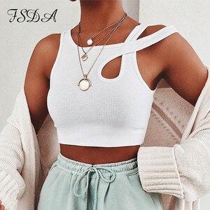 FSDA O Neck White Crop Top Women Sexy Summer 2020 Sleeveless Basic T Shirt Off Shoulder Cami Casual Streetwear Cotton Tank Tops