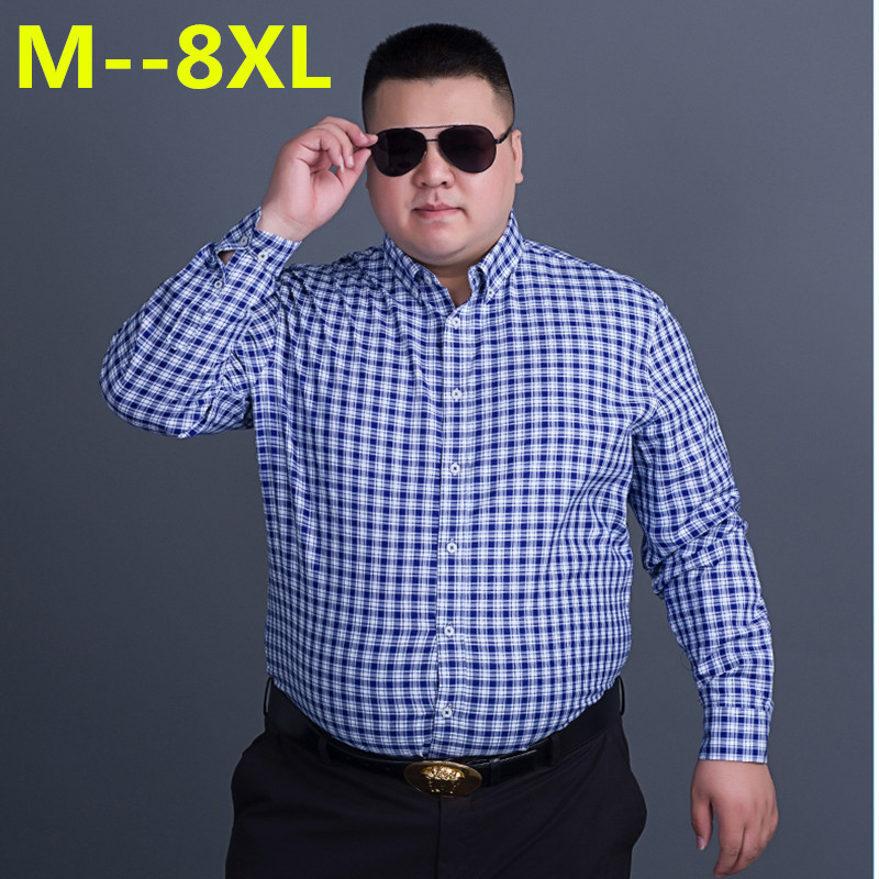 Big 10XL 8XL 6XL 5XL Men's Classic Plaid Shirt Long Sleeve Dress Shirt Men Business Formal Shirts Mens Clothing Camisa Masculina
