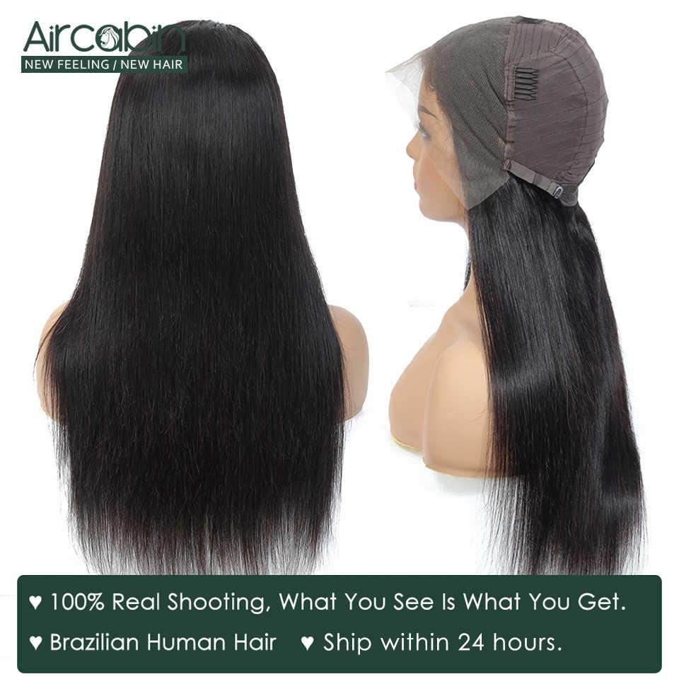 Aircabin brazylijski peruki z prostymi włosami Remy ludzki włos Glueless 13x4 koronkowe przednie zamknięcie peruki dla czarnych kobiet 150 wysokiej gęstości